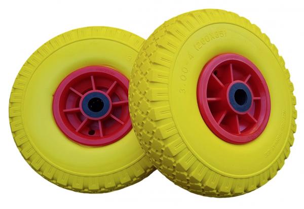 2 x Ersatzrad - PU Rad für Bollerwagen oder Sackkarre pannensicher gelb / ot