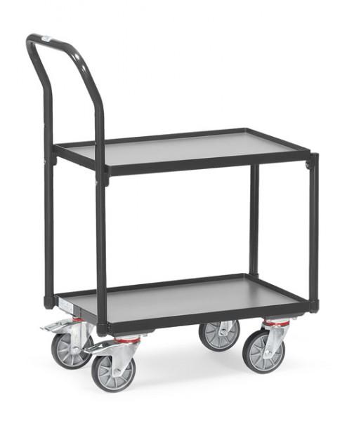 """Fetra 135400 7016 Etagen-Roller """"GREY EDITION"""" 250 kg, zwei Holzböden,, mit Rand, Rohrschiebebügel"""