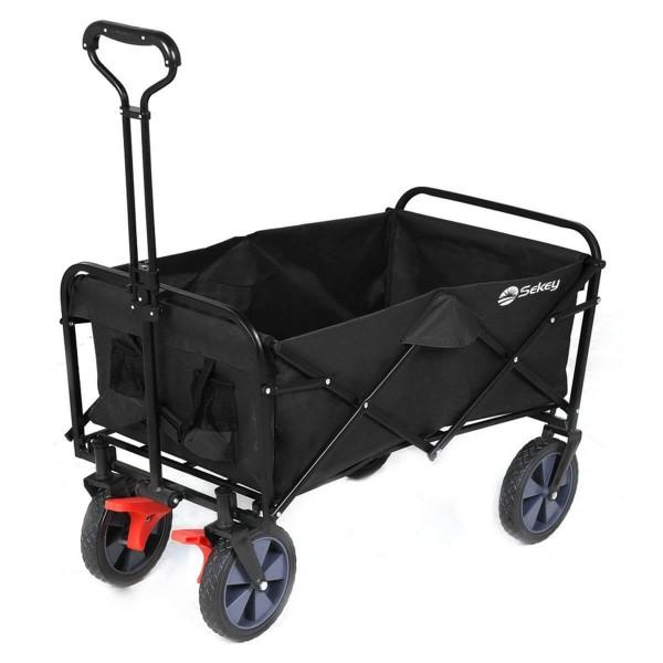 Sekey faltbarer Bollerwagen mit Bremse in schwarz