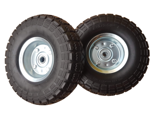 2 x Ersatzrad pannensicher Transportwagen 16 mm Achse Silber 4.10 / 3,50 - 4
