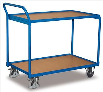 VARIOfit Leichter Tischwagen mit zwei Ladeflächen und Schiebegriff sw-500.500/sw-600.500