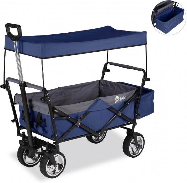 Sekey faltbarer Bollerwagen mit Dach,Bremse,Ablagekorb blau