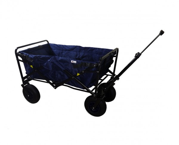 Bollerwagen Nick faltbar mit Luftreifen und Bremse blau