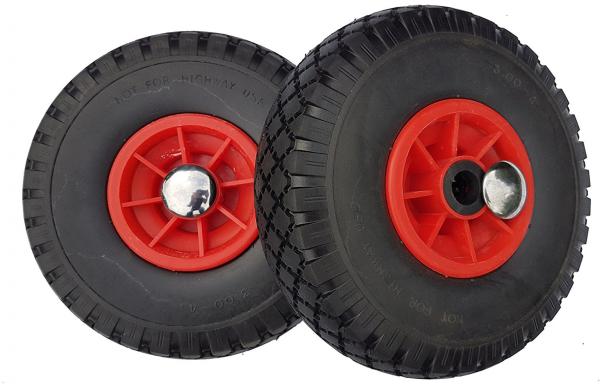 2 x Ersatzrad mit Achsstopfen - PU Rad für Bollerwagen oder Sackkarre pannensicher-