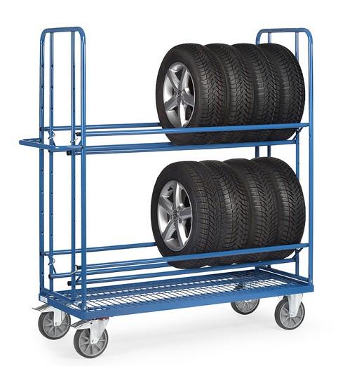 Fetra 4596 Reifenwagen, 400 kg, mit zwei Ladeflächen, Boden mit eingeschweißtem Drahtgitter