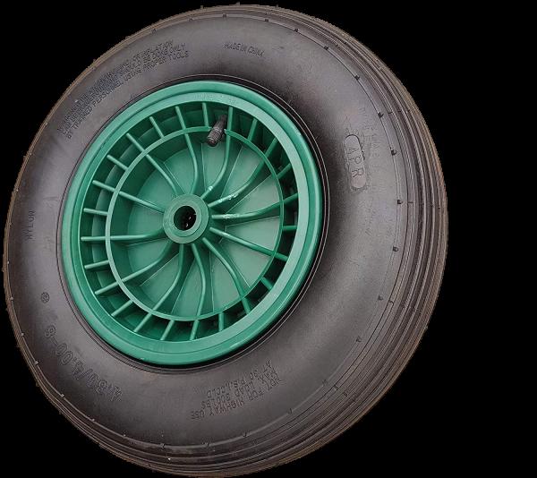 Frosal Schubkarrenrad 400 (380) mm mit Achse | Luftrad Schubkarre | Ersatzrad 4.80 / 4.00-8