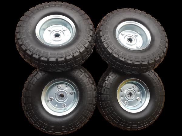 4 x Ersatzrad pannensicher Transportwagen 16 mm Achse Silber 4.10 / 3,50 - 4