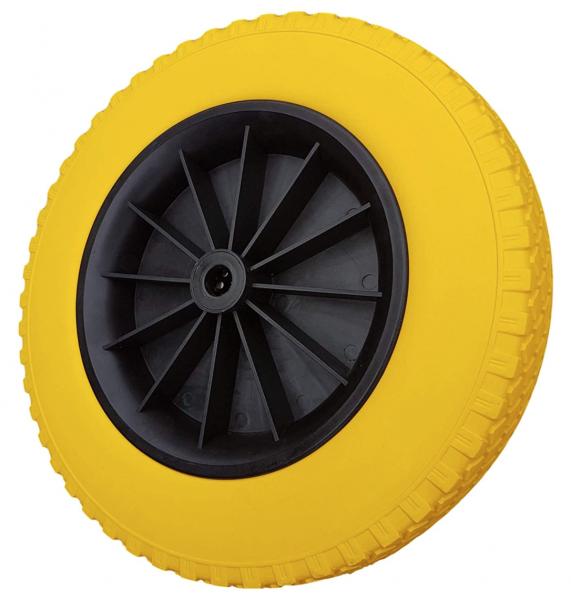 Schubkarrenrad 400 mm pannensicher | PU-Rad Schubkarre | Ersatzrad 4.80 / 4.00-8 Kunststoff-Felge |