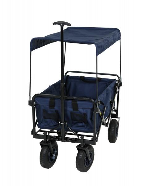 Bollerwagen Nick blau faltbar mit Luftreifen Bremse und Dach