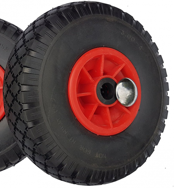 Frosal Ersatzrad mit Achsstopfen - PU Rad Nabe 25mm/75mm für Bollerwagen oder Sackkarre pannensicher