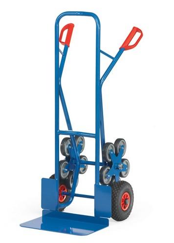 Fetra TK 1328 Treppenkarren Stahl 200 kg, mit zwei fünfarmigen Rad-Sternen, Luft, breite Schaufel