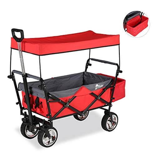 Sekey faltbarer Bollerwagen mit Dach,Bremse,Ablagekorb Rot
