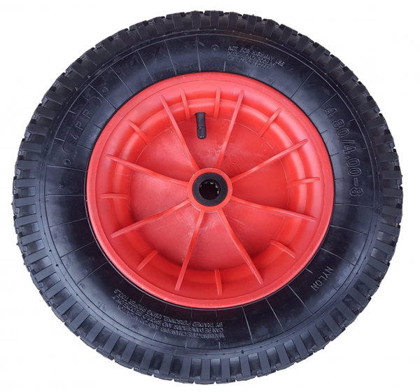 Schubkarrenrad 400 (380) mm | Luftrad Schubkarre | Ersatzrad 4.80 / 4.00-8 Kunststoff-Felge rot