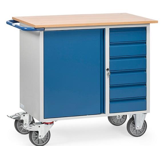 Fetra 2450 Stahlblech-Werkstattwagen mit Schrank und sechs Schubladen