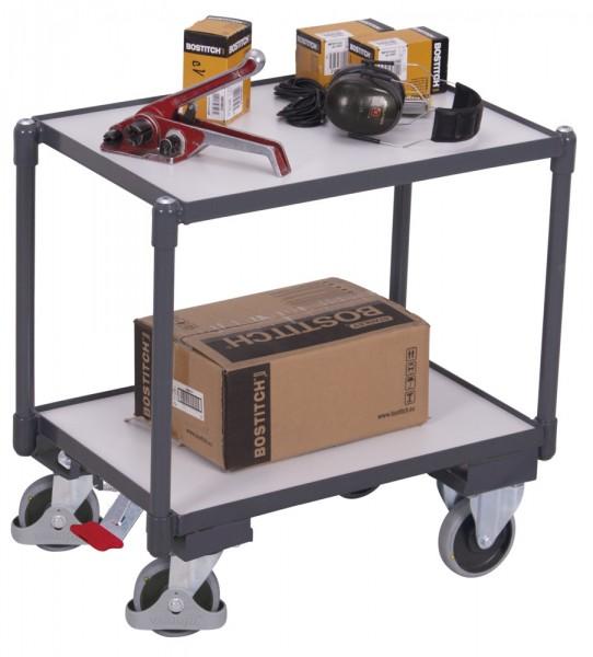 VARIOfit ESD Euro-System-Roller mit zwei Ladeflächen, Baukasten-System, EasySTOP, sw-410.556