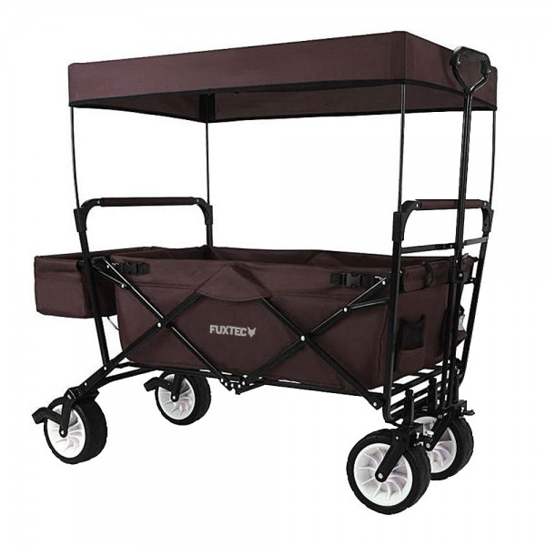 fuxtec faltbarer bollerwagen jw 76cb braun mit sonnendach bollerwagen faltbar bollerwagen. Black Bedroom Furniture Sets. Home Design Ideas
