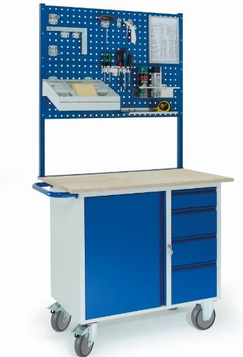 rollcart werkstattwagen mit vier schubladen stahlschrank zwei lochplatten 07 4361l2. Black Bedroom Furniture Sets. Home Design Ideas