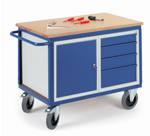 rollcart werkstattwagen mit stahlschrank und schubladen 600 kg tragkraft 07 4307. Black Bedroom Furniture Sets. Home Design Ideas