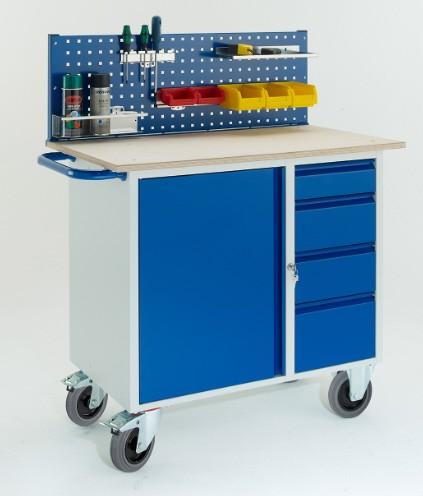 ROLLCART Werkstattwagen mit vier Schubladen, Stahlschrank, eine Lochplatte, 07-4361L1