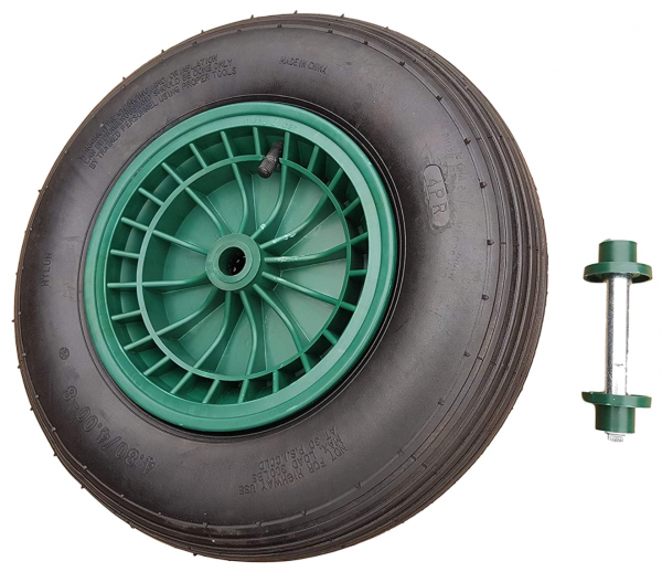 Schubkarrenrad 400 (380) mm mit Achse | Luftrad Schubkarre | Ersatzrad 4.80 / 4.00-8 Kunststoff-Felg