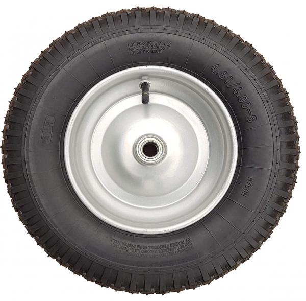 Schubkarrenrad 400 (380) mm | Luftrad Schubkarre | Ersatzrad 4.80 / 4.00-8 Stahlfelge silber | Re