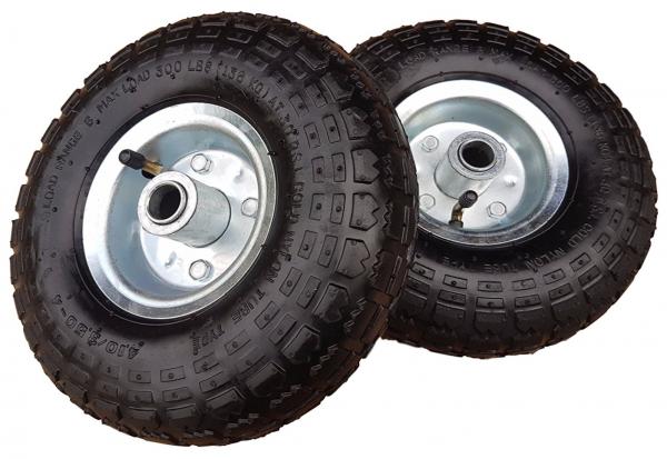 2 x Ersatzrad Transportwagen 16 mm Achse Silber 4.10 / 3,50 - 4