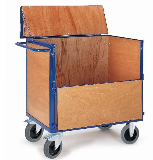 ROLLCART Holzkastenwagen mit Deckel, 600 kg Tragkraft, 056197 056198